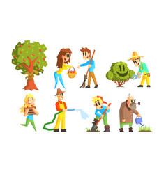 people working in garden set cheerful farmers vector image