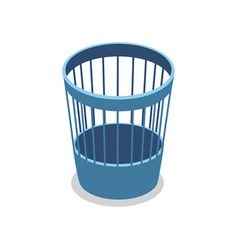 Plastic blue trash basket isometric 3d icon vector