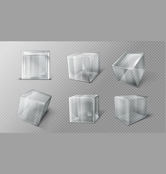 Plastic or glass cube in different angle view set vector