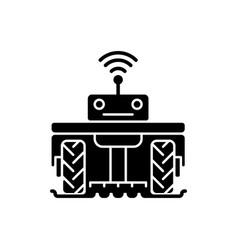 Robotics in agriculture black glyph icon vector