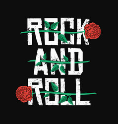 rock and roll t-shirt design red roses between vector image