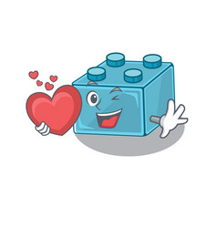 Romantic lego brick toys cartoon picture holding vector