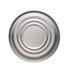 round tin can top view on a vector image