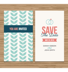 Save date card pattern green 01 vector