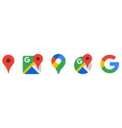 Set google maps icons vector