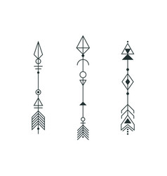 set graphic arrows for tattoo design vector image