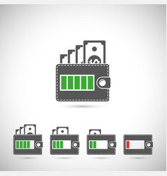 set of wallet icons vector image