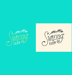 surfing lettering sign summer surf surface water vector image