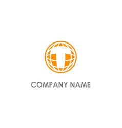 T initial globe sphere technology logo vector