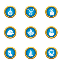 time of year icons set flat style vector image