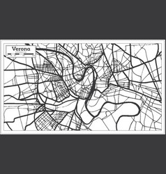 verona italy city map in retro style outline map vector image