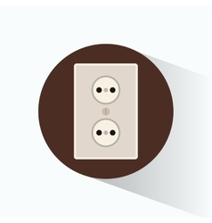Wall plug electricity brown cicle design vector