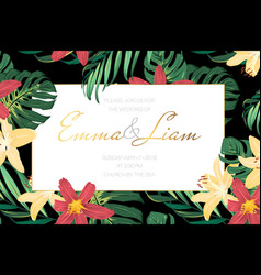Wedding invitation lily flowers tropical leaves vector