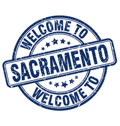 Welcome to sacramento blue round vintage stamp vector