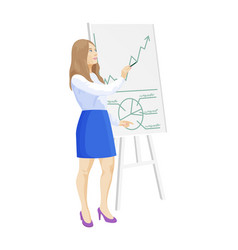 Woman and whiteboard info vector