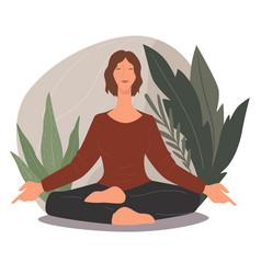woman meditating and practicing yoga asanas poses vector image