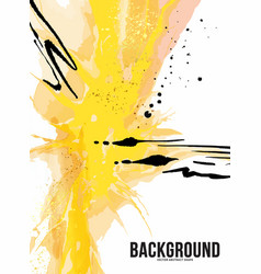 yellow ink modern paint abstract design vector image