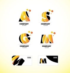 Yellow letter alphabet icon logo set vector image