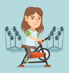 Young caucasian woman riding stationary bicycle vector