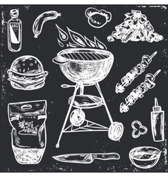 Bbq Grill Sketch Set Hand Drawn vector image