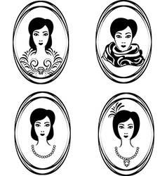portrait of a girl in a locket vector image vector image