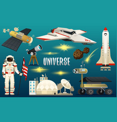 astronaut spaceman planets in solar system vector image