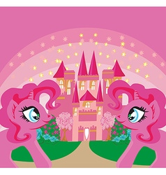 Card with a cute unicorns rainbow and fairy-tale vector image vector image