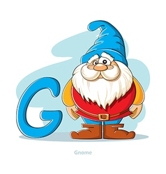 Cartoons Alphabet - Letter G with funny Gnome vector image