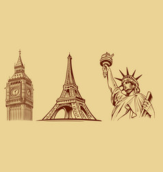 new york-paris-london-tourist symbols vector image vector image
