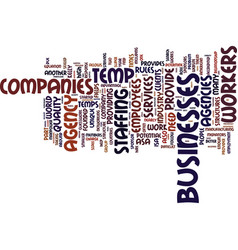 temp agency companies text background word cloud vector image