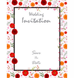 beautiful wedding invitation card with flowers vector image
