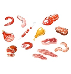 Cartooned meat and meat products vector image