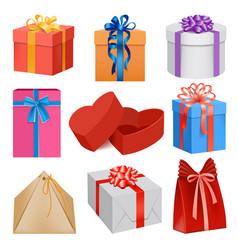 gift box mockup set realistic style vector image
