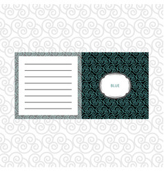 notepad design with blue geometric pattern vector image vector image