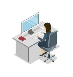 Woman working at computer isometric 3d icon vector