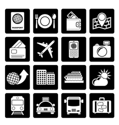Black travel transportation and vacation icons vector image vector image