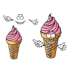 Cartooned strawberry pink ice cream character vector image