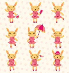Rabbit girls set vector image