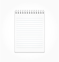 realistic notepad with white sheets in a line on a vector image