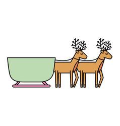 reindeer pulling christmas sledge traditional vector image