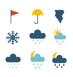 set of climate forecast weather icons vector image vector image