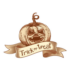 trick or treat retro pumpkin sketch vector image vector image