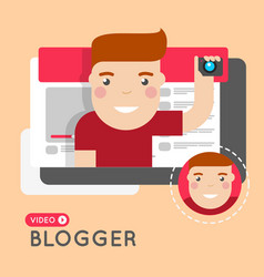video blogger flat style concept vector image vector image