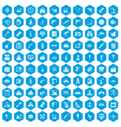 100 equipment icons set blue vector