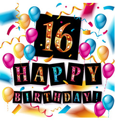 16th birthday celebration with color balloons vector