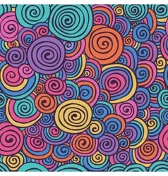 Abstract Colorful Hand Sketched Swirls Seamless vector
