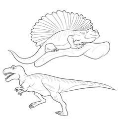 Allosaurus edaphosaurus lineart vector