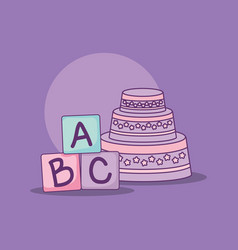 Baby shower card with cake and blocks vector