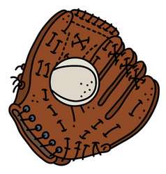 Baseball glove with a ball vector
