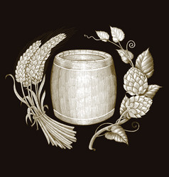beer logo hand drawing vintage engraving style vector image